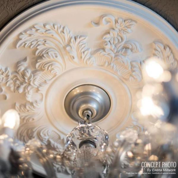 11 3//4OD x 3 5//8ID x 1P Hand-Painted Ultra Pure White Fits Canopies up to 4 7//8 Ekena Millwork CM11BLUWF Jet Blackthorne Ceiling Medallion