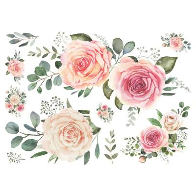 Pink Roses Peel And Stick Giant Wall Decals