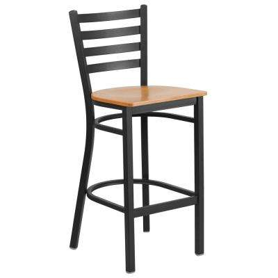 29 in. Black and Natural Bar Stool