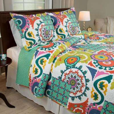 Sybil Green Polyester Full/Queen Quilt