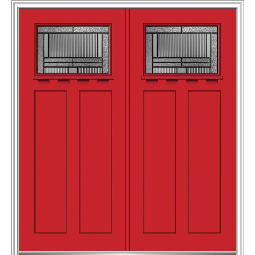 MMI Door 72 in. x 80 in. Brighton Left-Hand Inswing 1/4-Lite Decorative Painted Fiberglass Smooth Prehung Front Door with Shelf
