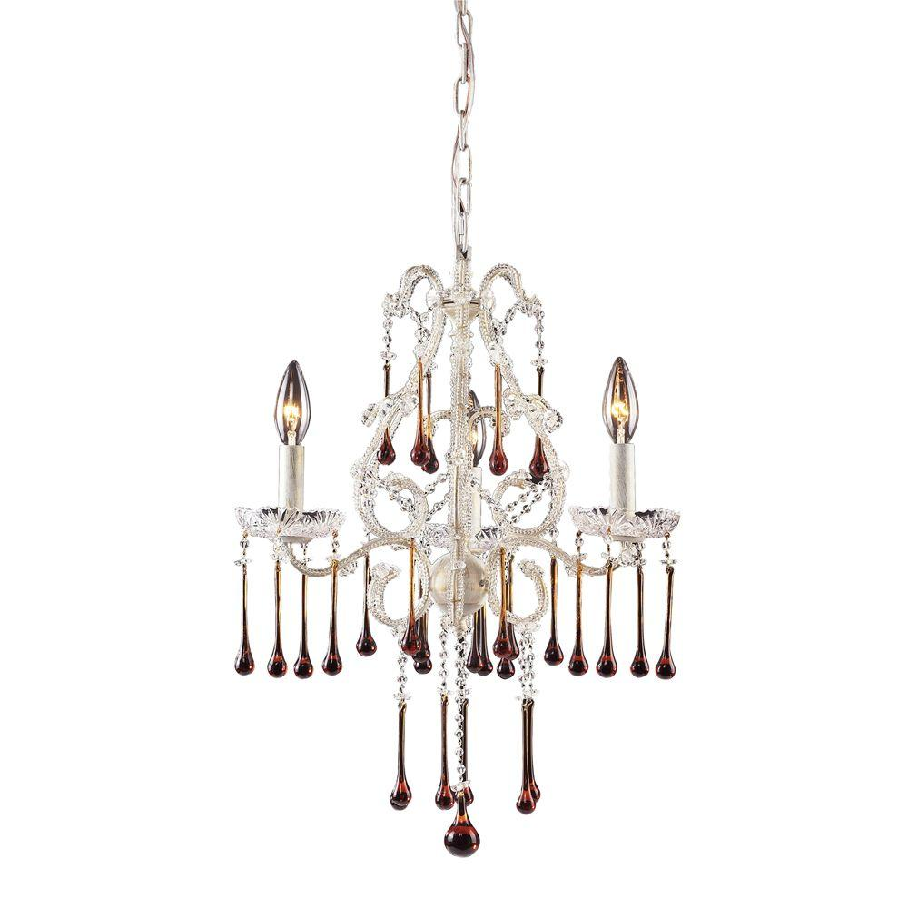 Titan Lighting Opulence 3-Light Ceiling Mount Antique White Chandelier