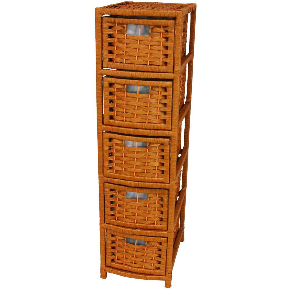 5-Drawer Honey Natural Fiber Occasional Storage Chest
