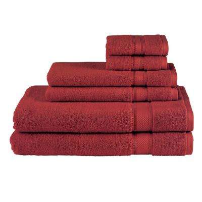 Solid 6-Piece Burgundy Towel Set