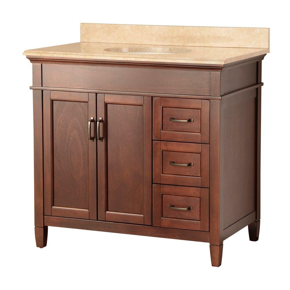 Foremost Ashburn 37 in. W x 22 in. D Vanity in Mahogany with Right Drawers and Vanity Top with Stone Effects