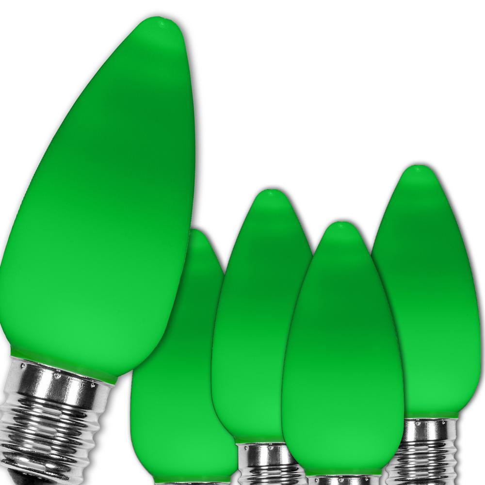 C9 LED Green Smooth/Opaque Christmas Light Bulbs (25-Pack)