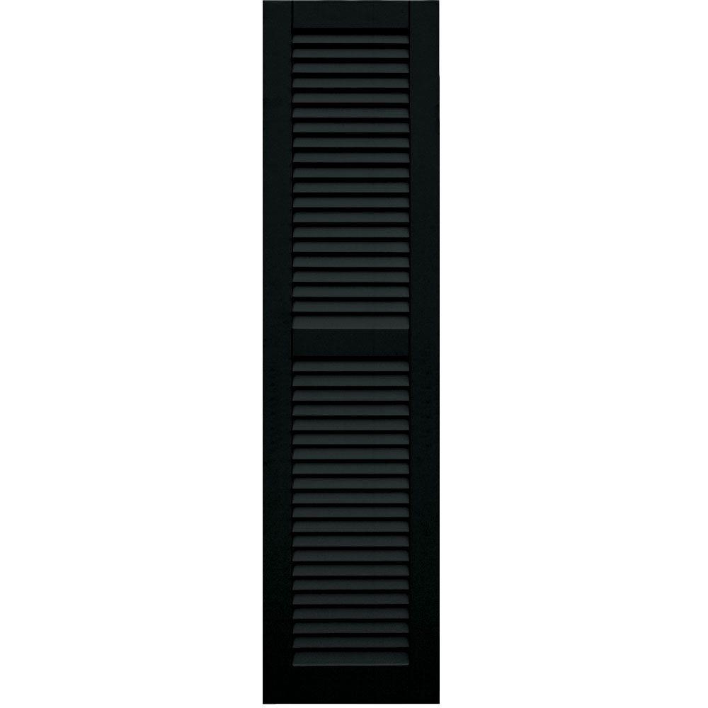 Winworks Wood Composite 15 in. x 60 in. Louvered Shutters Pair #653 Charleston Green