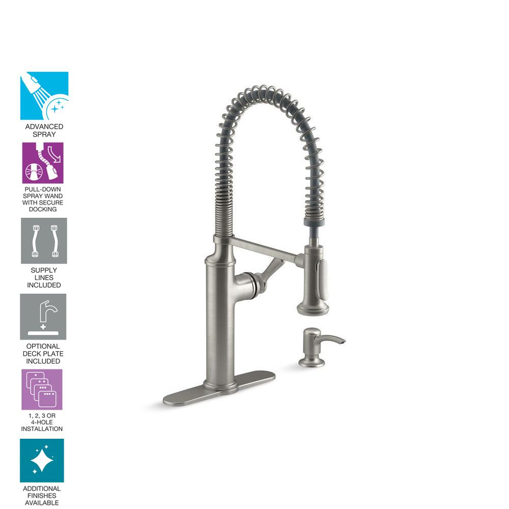 Kohler Sous Pro Style Single Handle Pull Down Sprayer Kitchen Faucet In Vibrant Stainless