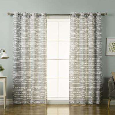 84 in. L Polyester Nordic Geometric Tribal Curtains in Grey (2-Pack)