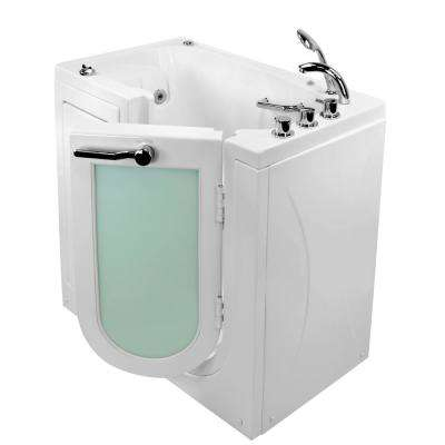 Mobile 45 in. Acrylic Walk-In Whirlpool Bathtub in White with Right Outward Swing Door, Faucet Set, RHS 2 in. Dual Drain