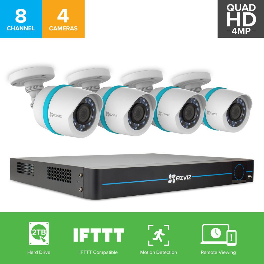 2K HD Security Camera System 4 4MP IP PoE Cameras 8-Channel