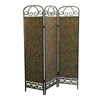 6 ft. Gold 3-Panel Room Divider