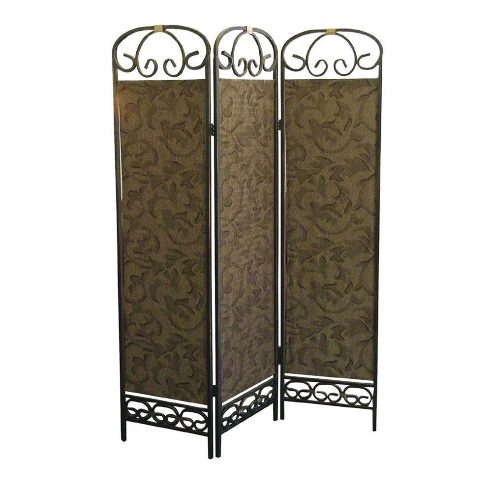 6 ft. Gold 3-Panel Room Divider