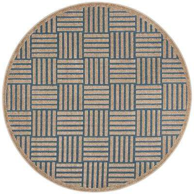 Cottage Light Blue/Beige 6 ft. 7 in. x 6 ft. 7 in. Indoor/Outdoor Round Area Rug