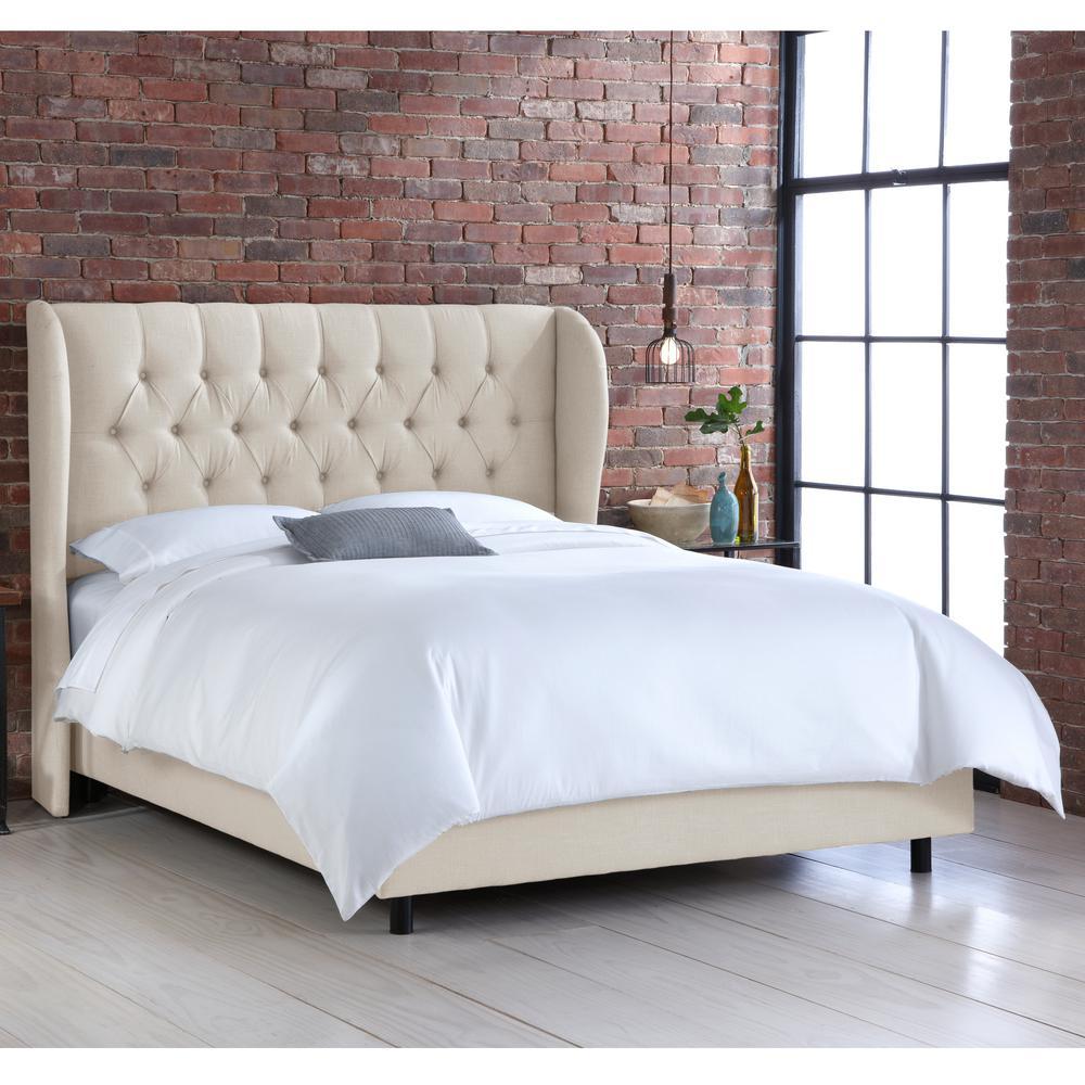 Preston Linen Talc  King Tufted Wingback Bed