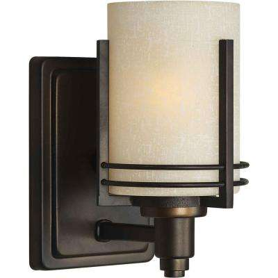 1-Light Antique Bronze Bath Vanity Light with Umber Linen Glass