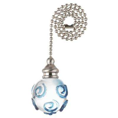13-3/4 in. Glass Orb and Nickel Accents Pull Chain
