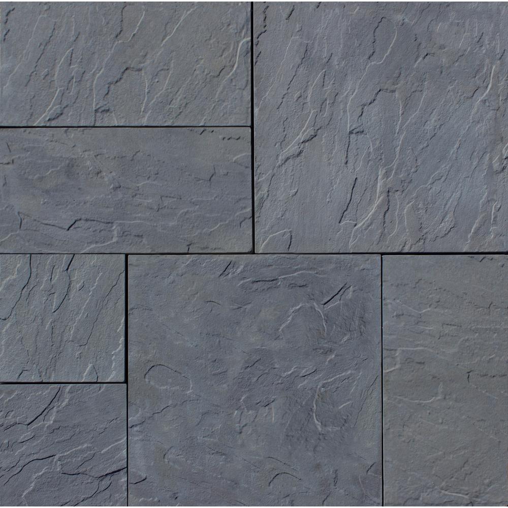 Patio-on-a-Pallet 12 in. x 24 in. and 24 in. x 24 in., 48 sq. ft. Concrete Gray Basketweave York-Stone Paver (18-Pieces)