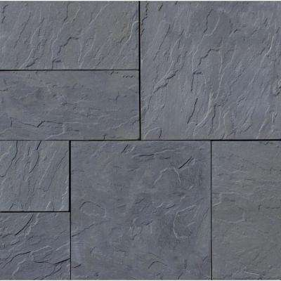 Patio-on-a-Pallet 12 in. x 24 in. and 24 in. x 24 in., 48 sq. ft. Concrete Gray Basketweave York-Stone Paver (18-Pieces)