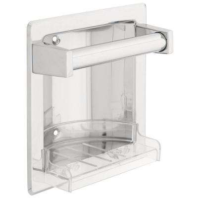 Recessed Soap Dish with Bar in Chrome