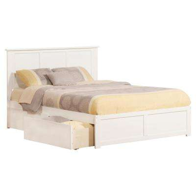Madison White Queen Platform Bed with Flat Panel Foot Board and 2-Urban Bed Drawers