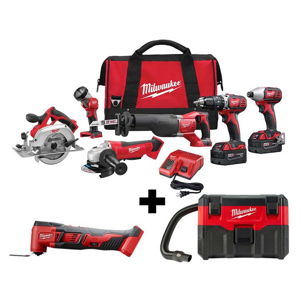 Milwaukee M18 18-Volt Lithium-Ion Cordless Combo Tool Kit (6-Tool) with M18 Multi-Tool and Wet/Dry Vacuum