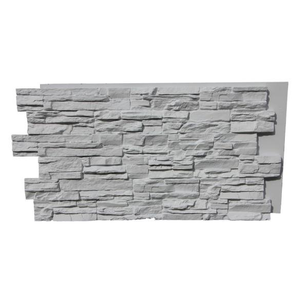 Lightning Ridge 48 in. x 24 in. Class A Fire Rated Faux Stone Siding Panel Finished Coconut White