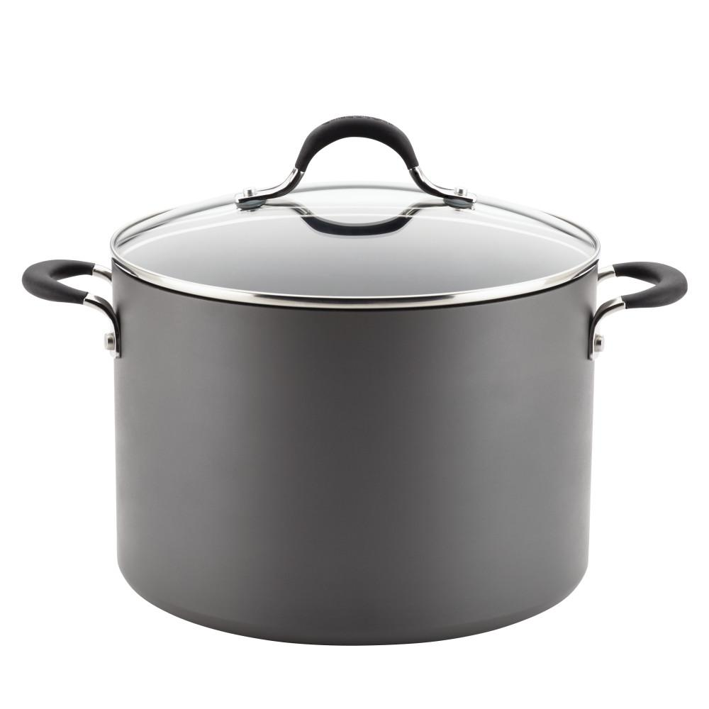 Momentum Hard-Anodized Nonstick 10-Quart Covered Stockpot, Gray