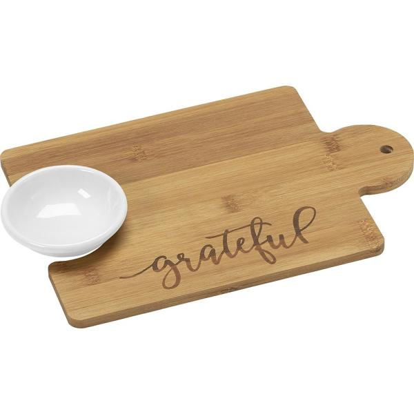 2-Piece Grateful Bamboo Puzzle Piece Cutting Board Set with 2 oz.