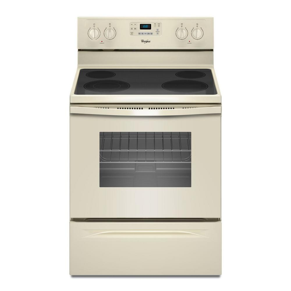 Whirlpool 5.3 cu. ft. Electric Range with Self-Cleaning Oven in Biscuit with SteamClean Option