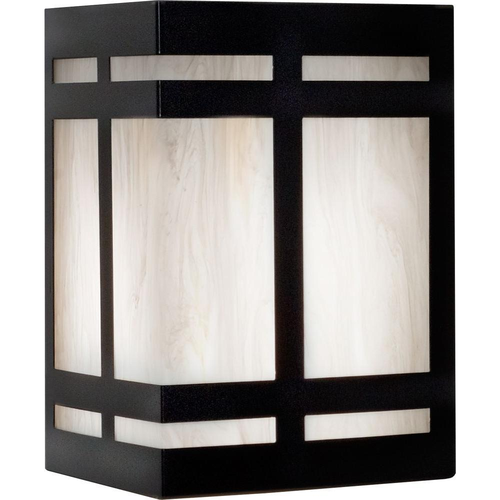 Filament Design 1-Light 10 in. Outdoor Black Wall Sconce with White Swirl Shade