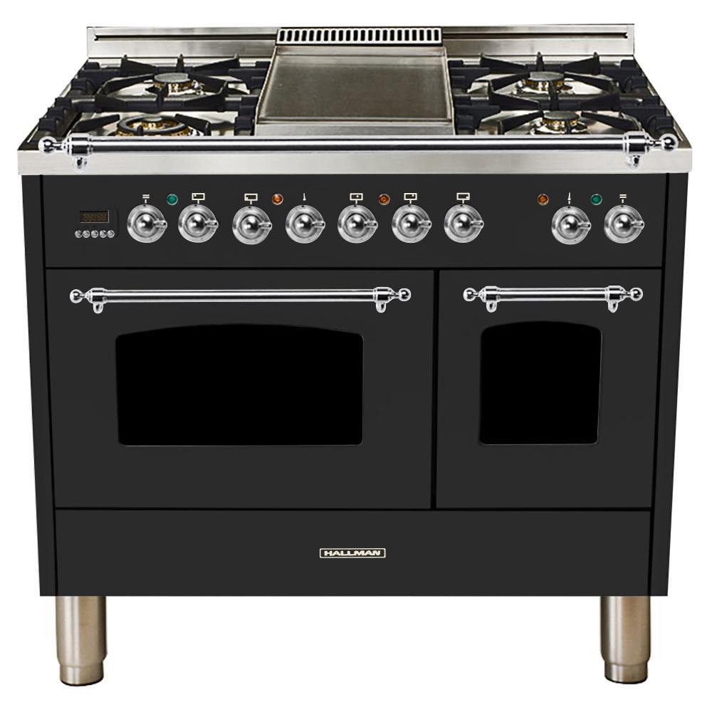 40 in. 4.0 cu. ft. Double Oven Dual Fuel Italian Range True Convection,5 Burners, LP Gas, Chrome Trim/Matte Graphite