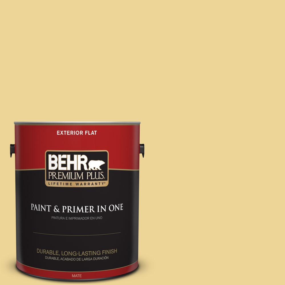 BEHR Premium Plus 1-gal. #370D-4 Mustard Seed Flat Exterior Paint