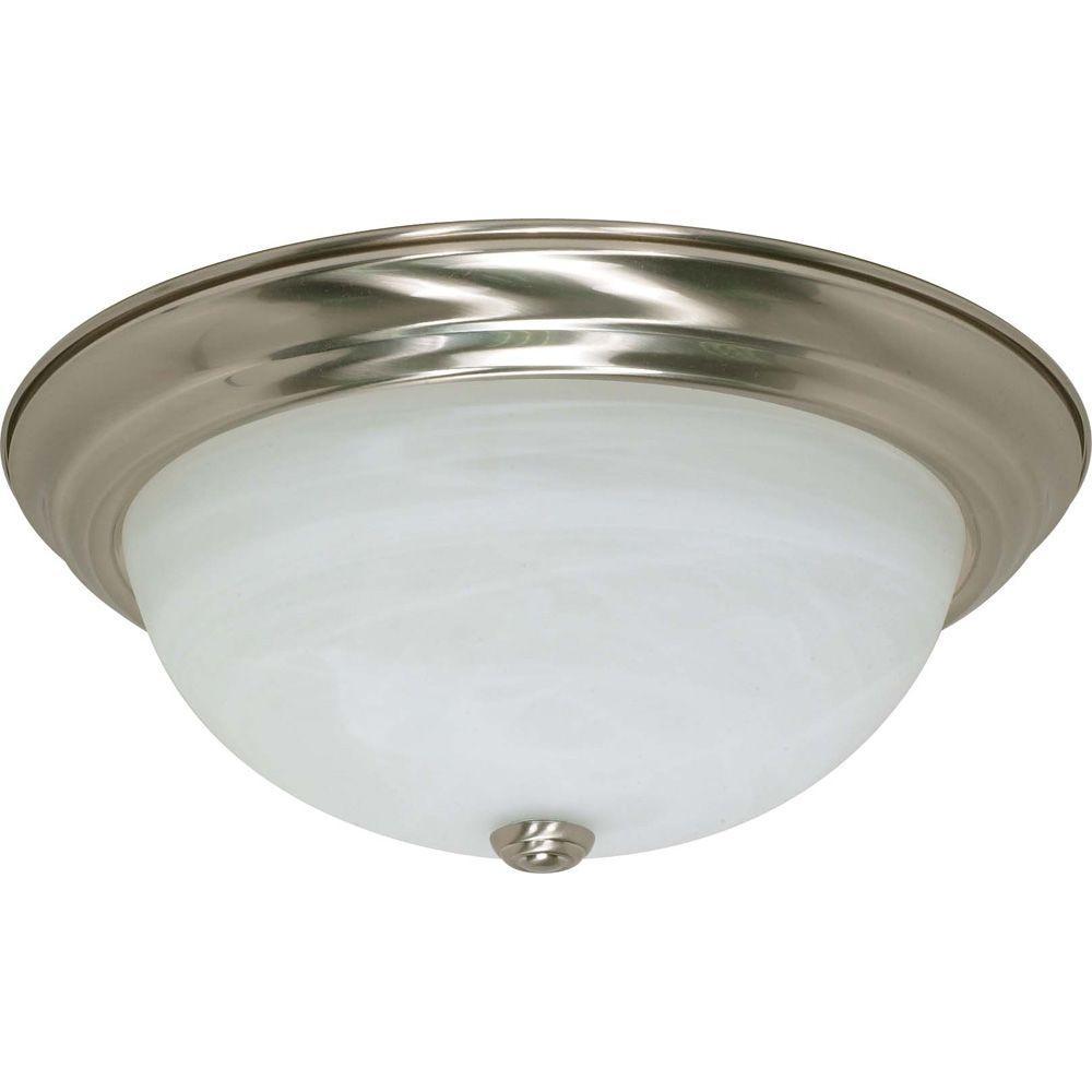 Elektra 3-Light Brushed Nickel Flushmount with Alabaster Glass