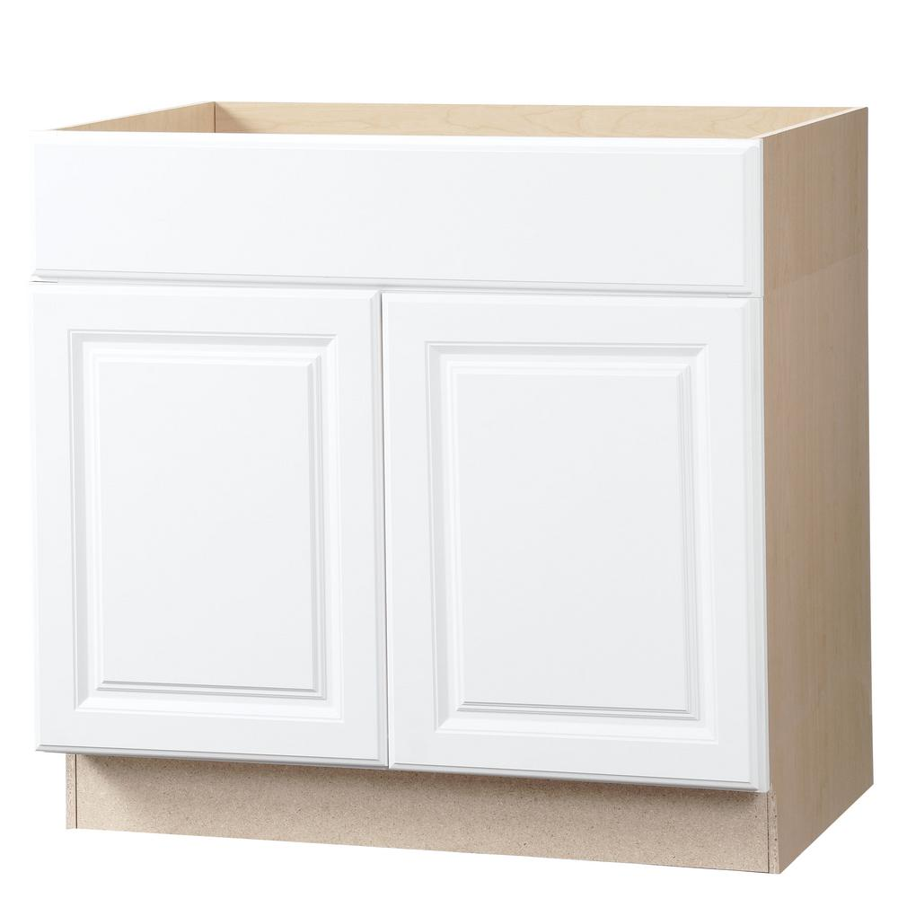 hampton bay hampton assembled in accessible sink base kitchen cabinet in satin white. Black Bedroom Furniture Sets. Home Design Ideas
