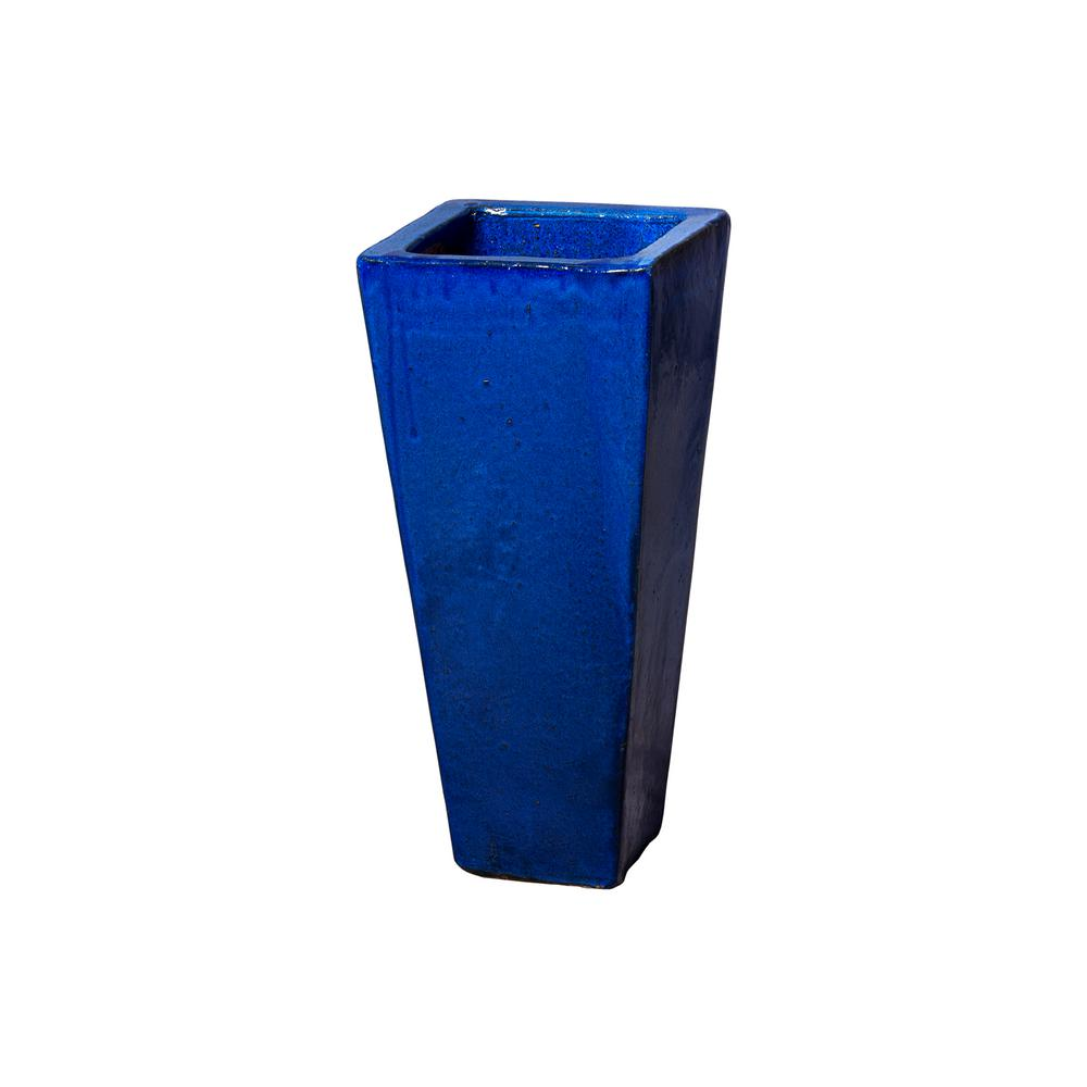 Tall Blue Ceramic Square Planter