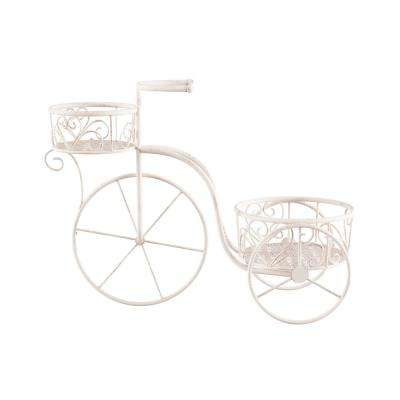 2-Tier Antique White Metal Decorative Tricycle Plant Stand