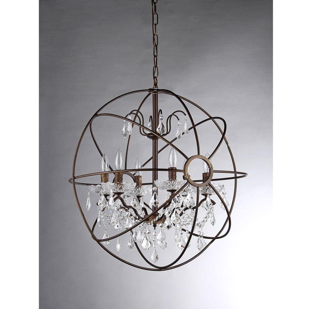 Warehouse Of Tiffany Edwards 6 Light Antique Bronze Sphere Crystal Chandelier With Shade