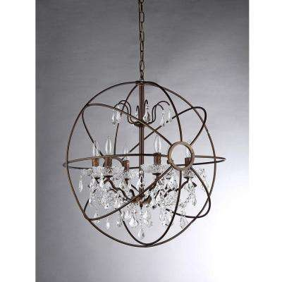 Edwards 6-Light Antique Bronze Sphere Crystal Chandelier with Shade