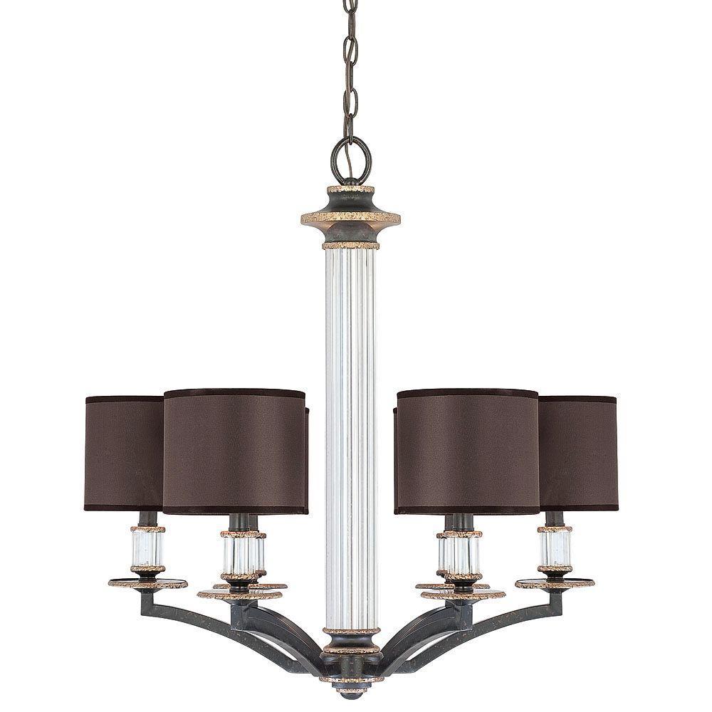 Illumine 6-Light Chandelier Distressed Bronze Charcoal Fabric