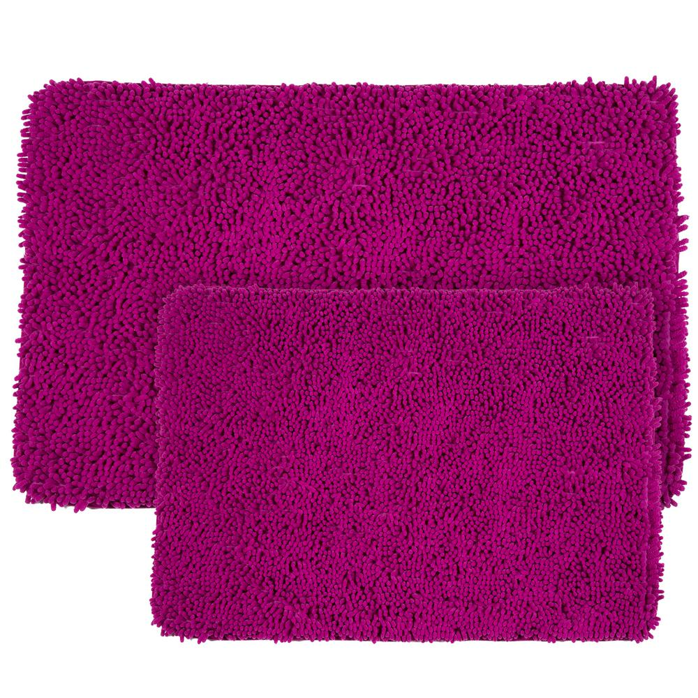 Plush Bathroom Rug Sets: Memory Foam 2-Piece Bath Mat Set Shag Pink Fuchsia Plush