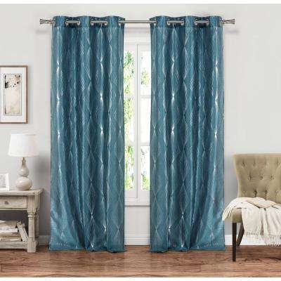 Kofi Peacock Grommet Panel Pair - 37 in. W x 84 in. L in (2-Piece)