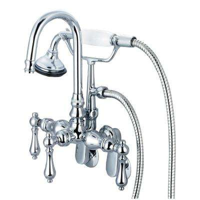 3-Handle Vintage Claw Foot Tub Faucet with Hand Shower and Lever Handles in Triple Plated Chrome