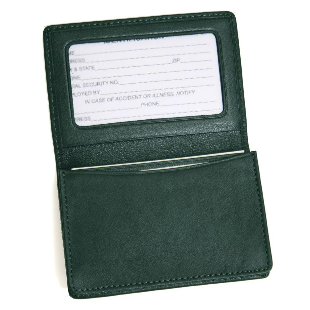 royce genuine leather business card case wallet green - Leather Business Card Case