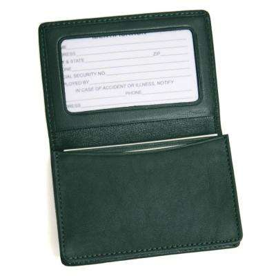 Genuine Leather Business Card Case Wallet, Green