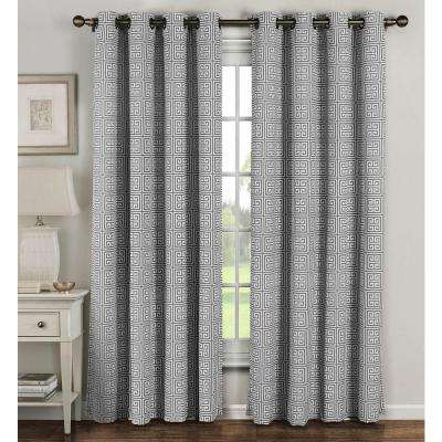 Semi-Opaque Greek Key Cotton Blend Extra Wide 96 in. L Grommet Curtain Panel Pair, Grey (Set of 2)
