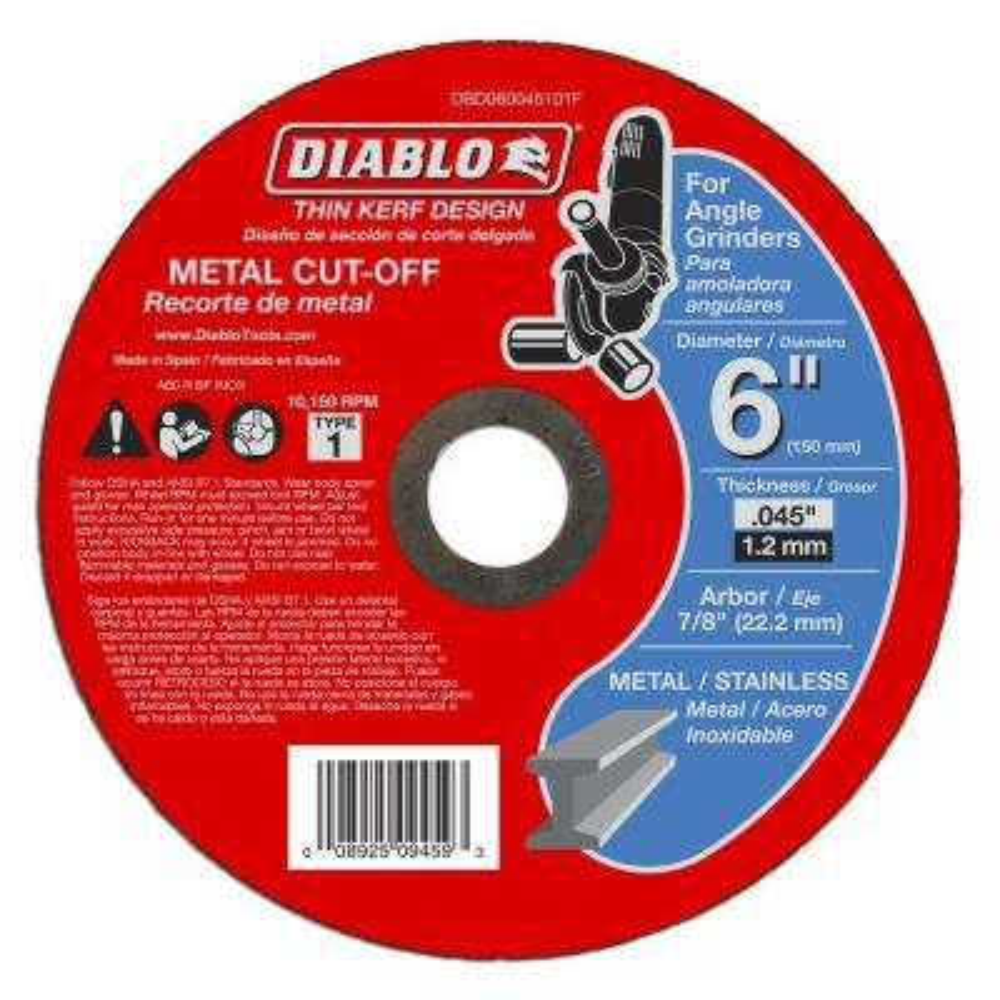 6 in. x 0.045 x 7/8 in. Thin Kerf Metal Cut-Off Disc (10-Pack)