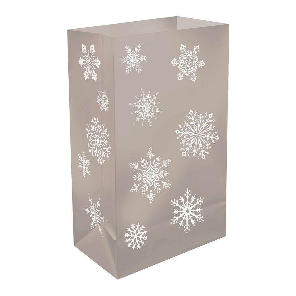 Plastic Luminaria Silver Snowflake Bags (12-Count)
