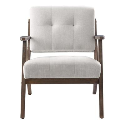 Reuben Arm Chair in Linen with Brown Brushed Wood Frame