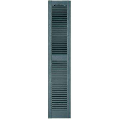 12 in. x 60 in. Louvered Vinyl Exterior Shutters Pair in #004 Wedgewood Blue
